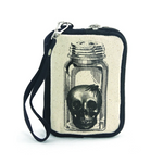 Vintage Print Head In A Jar Canvas Wristlet
