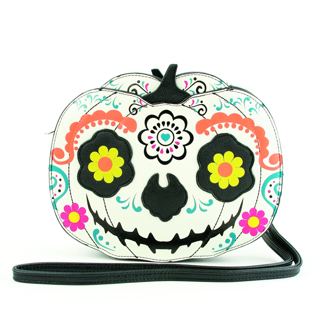 Sugar Skull Pumpkin Crossbody Bag