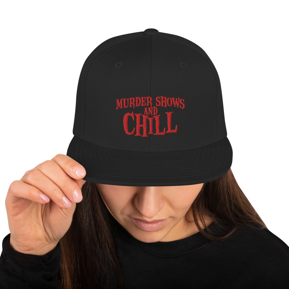 Murder Shows and Chill Snapback Hat (with knife)