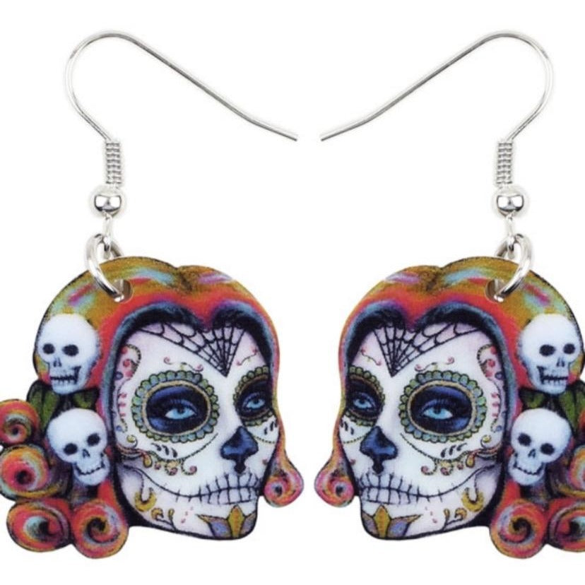 Sugar Skull Dia De Los Muertos Earrings