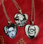 Bride and Frankenstein Heart Shaped Necklaces