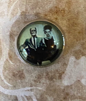 Round Retro Frankenstein and Bride Stud Earrings
