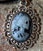 Vintage Style Skull Cameo Necklace