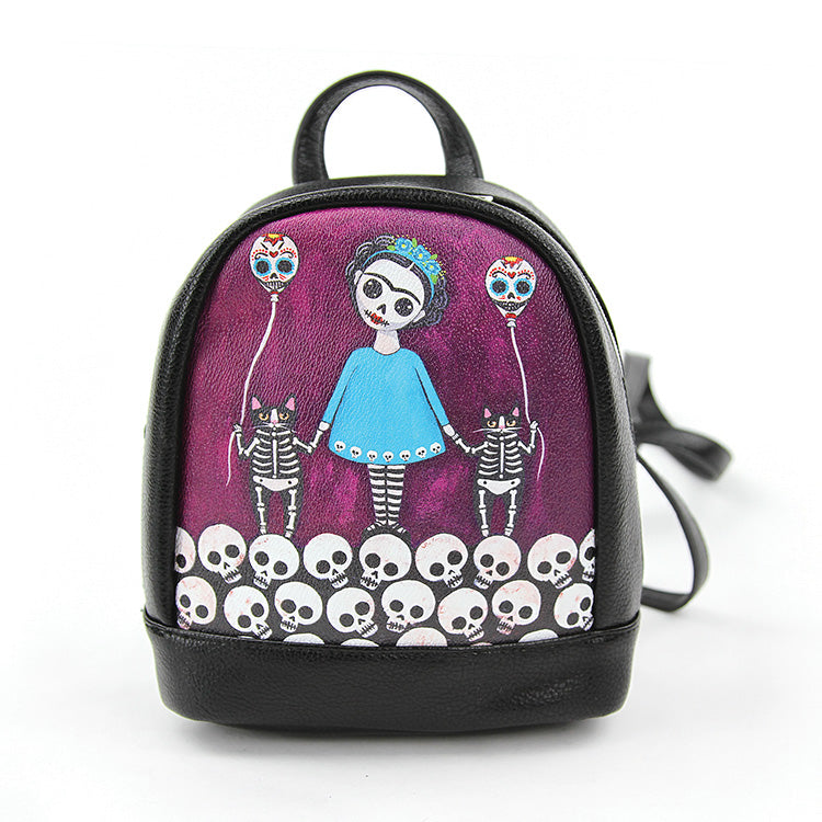 Skeleton Girl with Cats Mini Backpack