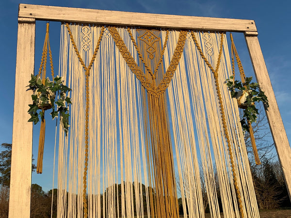 Macramé Wedding Backdrop in Gold & Natural with Arch