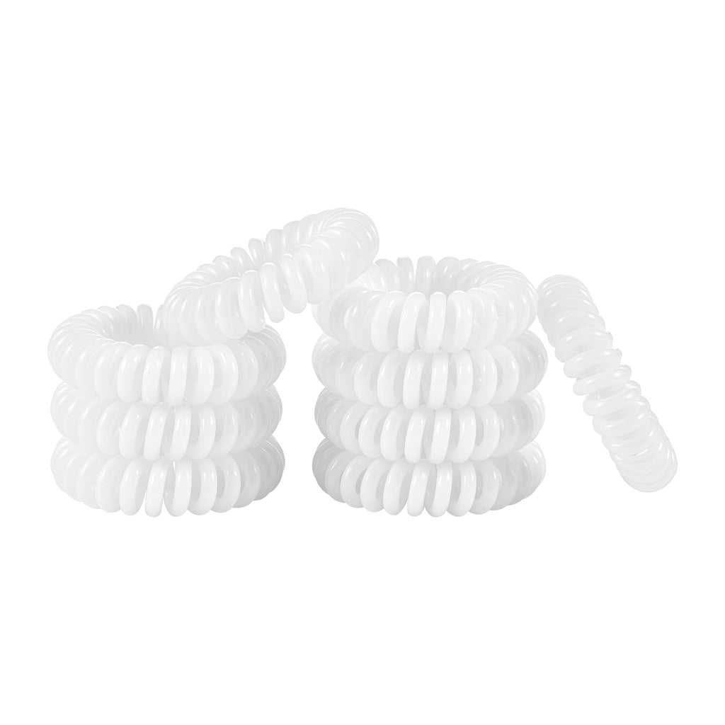 Thick White Spiral Hair Ties