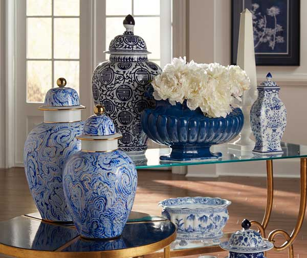 Collection of Chelsea House blue and white vases and bowls highlighting featured collection of products at Harley Butler Trading Company