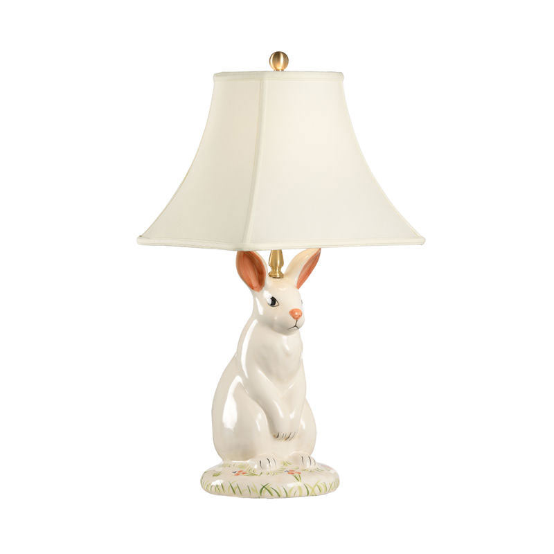 Dignified Rabbit Lamp creamy glazed porcelain lamp of sitting rabbit Wildwood
