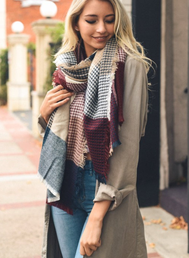 Burgundy and Blue Plaid Knit Scarf