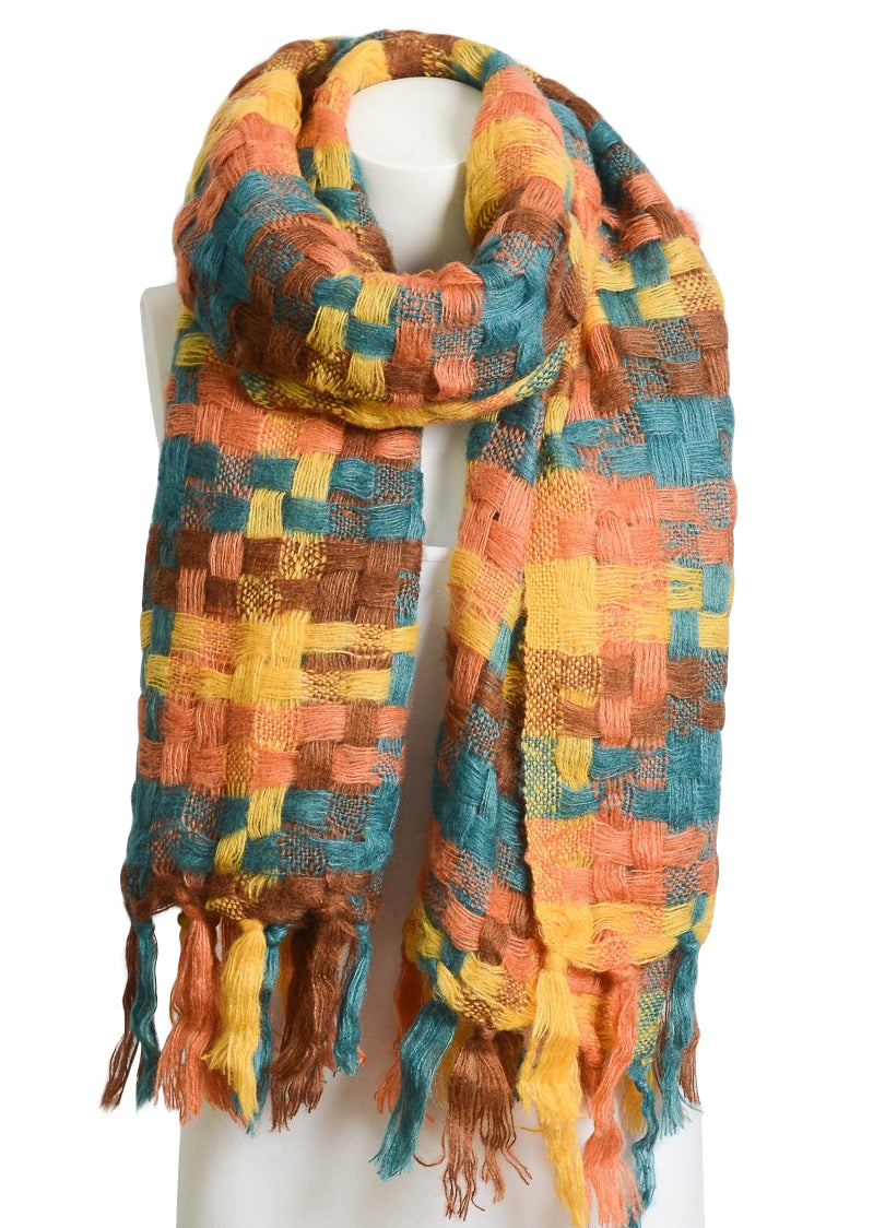 Orange & Teal Mix Patchwork Boho Scarf