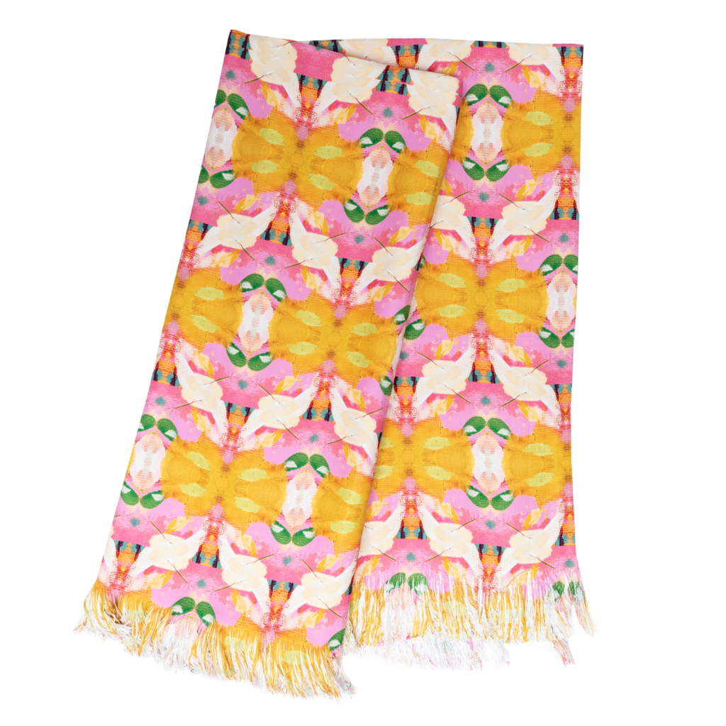 Flower Child Marigold Throw Blanket from Laura Park Designs in vivid orange, pink and green