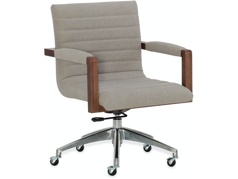 Elon Swivel Desk Chair in fabric and wood from Hooker Furniture