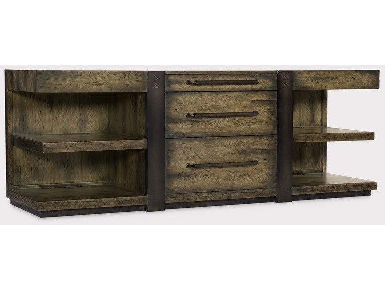 Crafted Leg Desk Credenza in oak, metal sheet and leather from Hooker Furniture product image