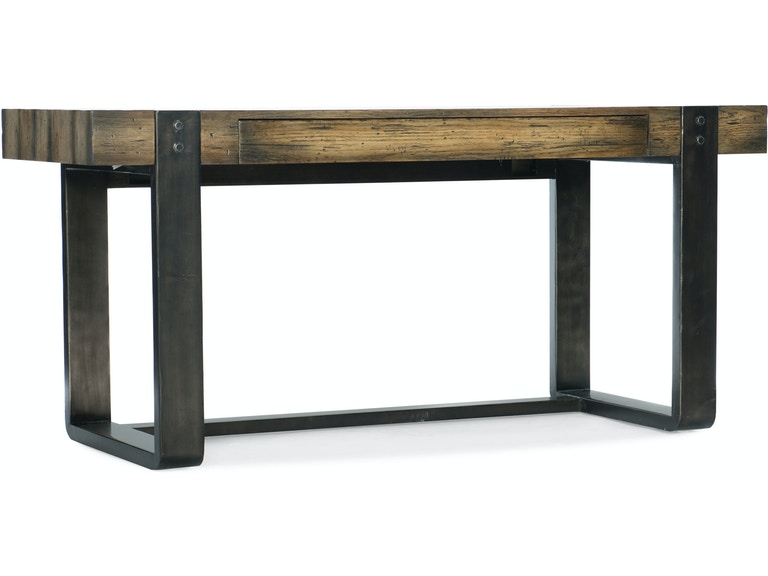 Crafted Leg Desk Oak and Elm veneer with metal legs from Hooker Furniture Front Side