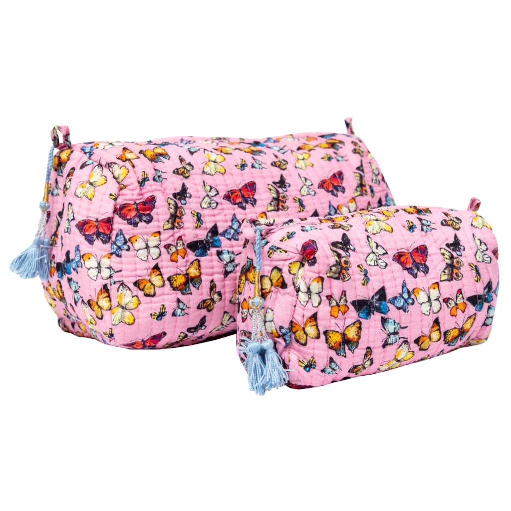 Butterflies Pink Quilted Cosmetic Bag in vivid pink with butterflies from Laura Park Designs