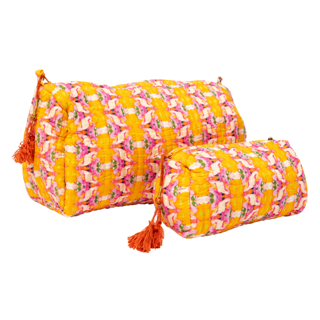 Flower Child Marigold Quilted Cosmetic Bag in vivid orange from Laura Park Designs