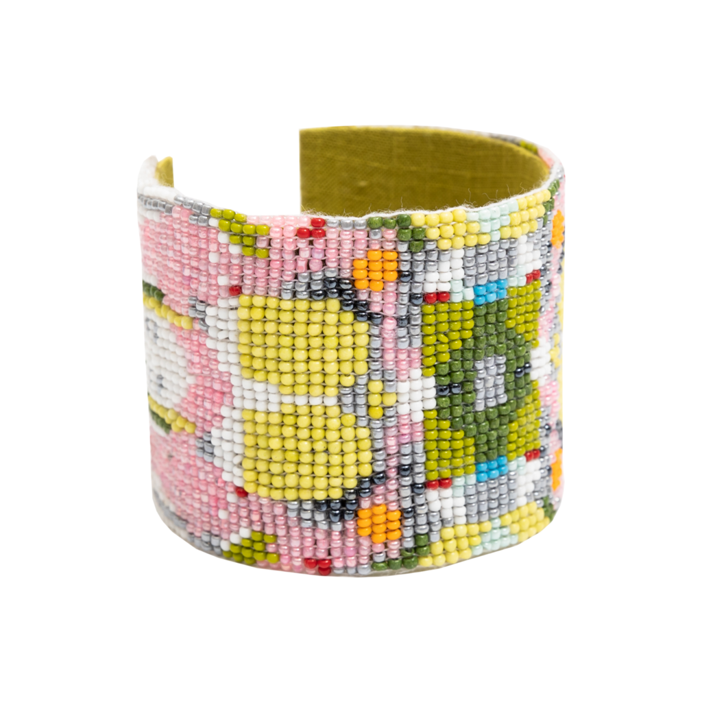 Poppy Pink Beaded Cuff Bracelet from Laura Park Designs in greens, pink, orange, and white