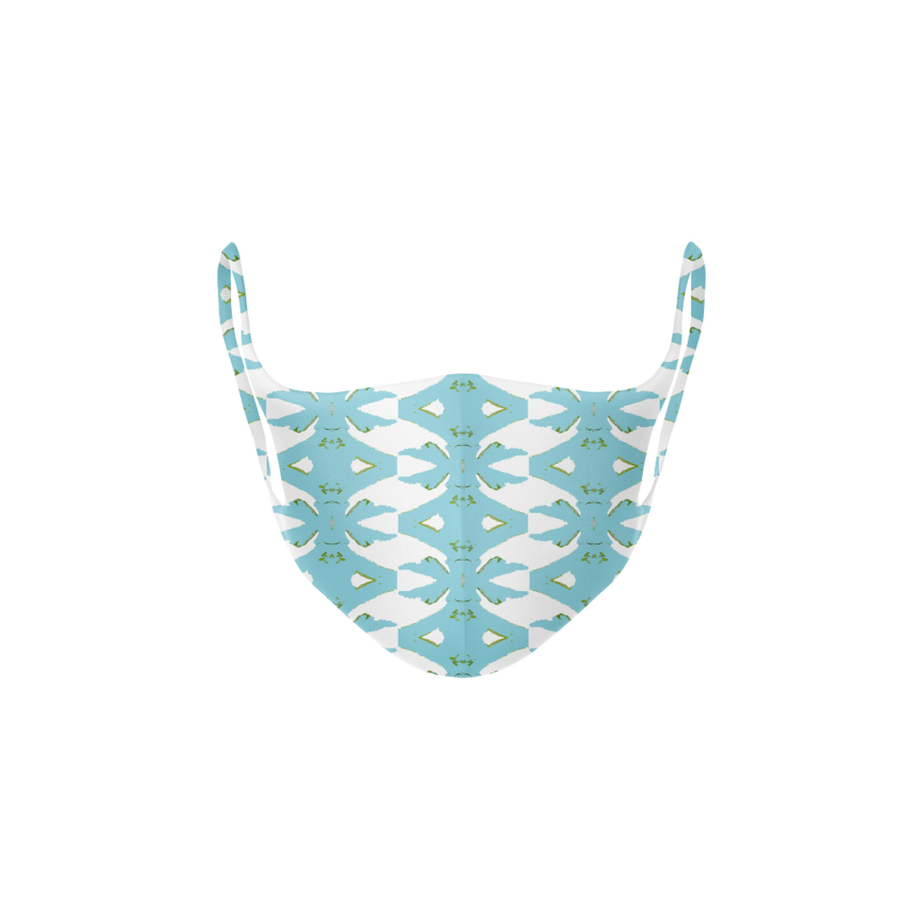 Palm Blue Kid's Face Mask in soft blues on white background from Laura Park Designs
