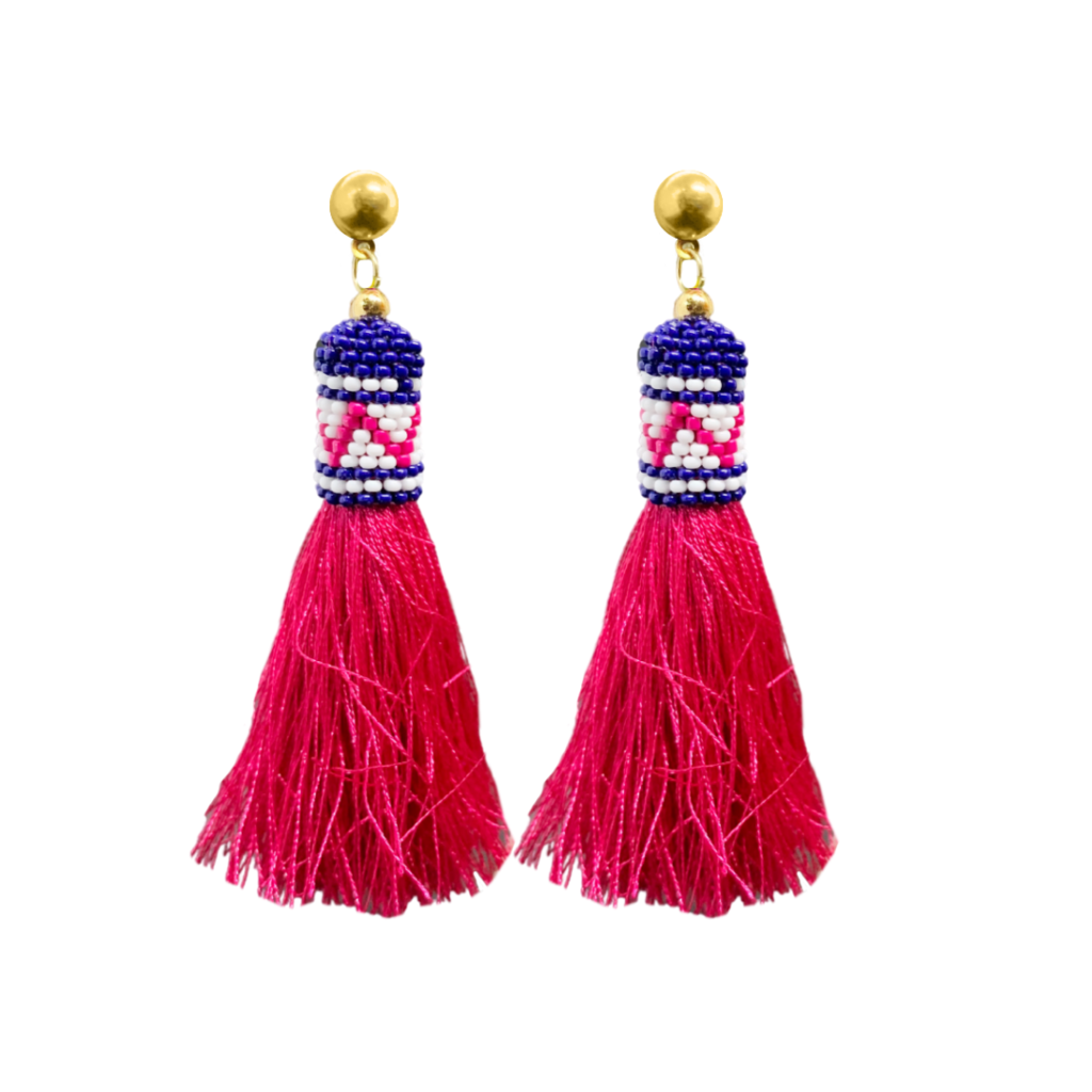 Under The Sea Tassel Earrings from Laura Park Designs in blue, pink, and white