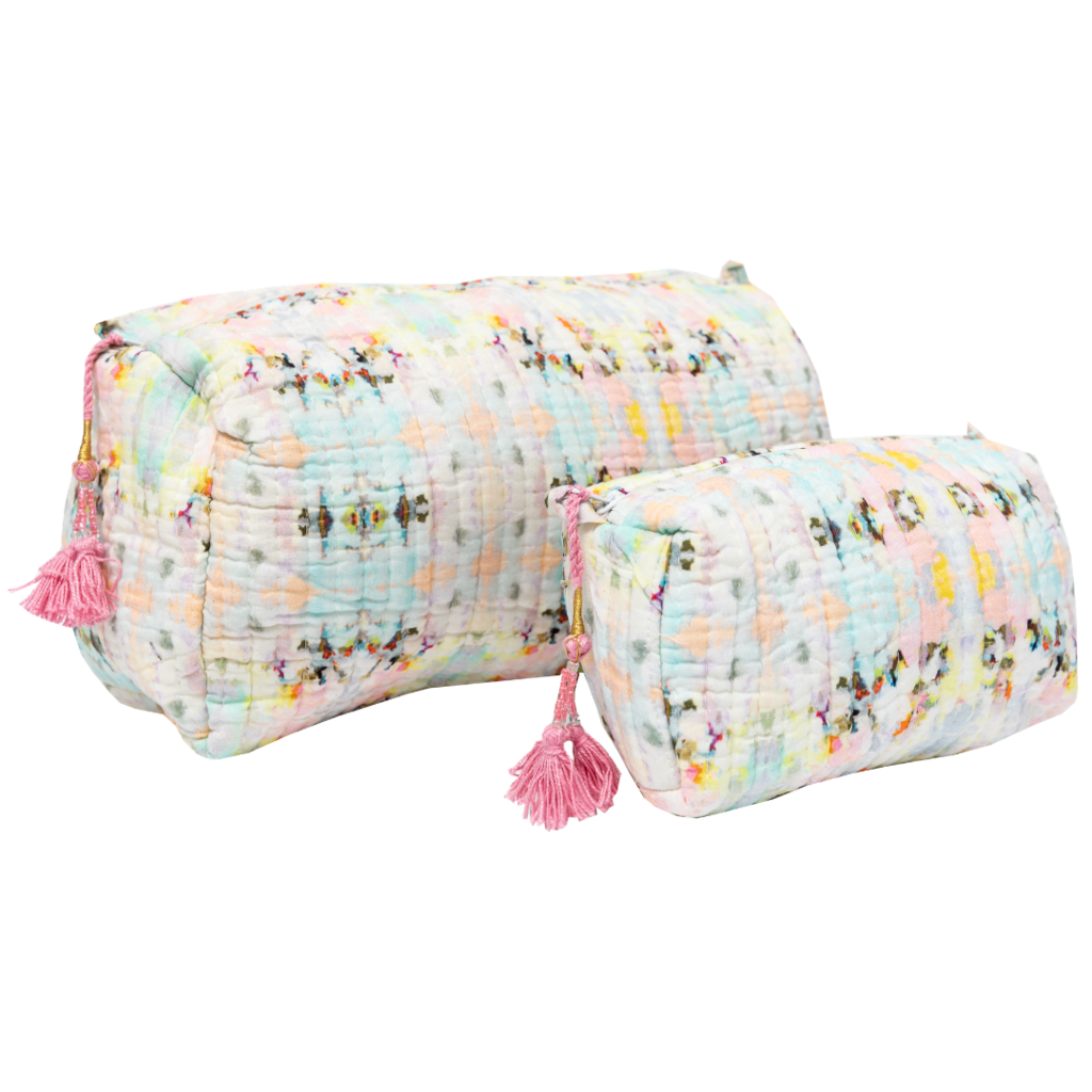 Brooks Avenue Quilted Cosmetic Bag in subtle pinks and yellows from Laura Park Designs
