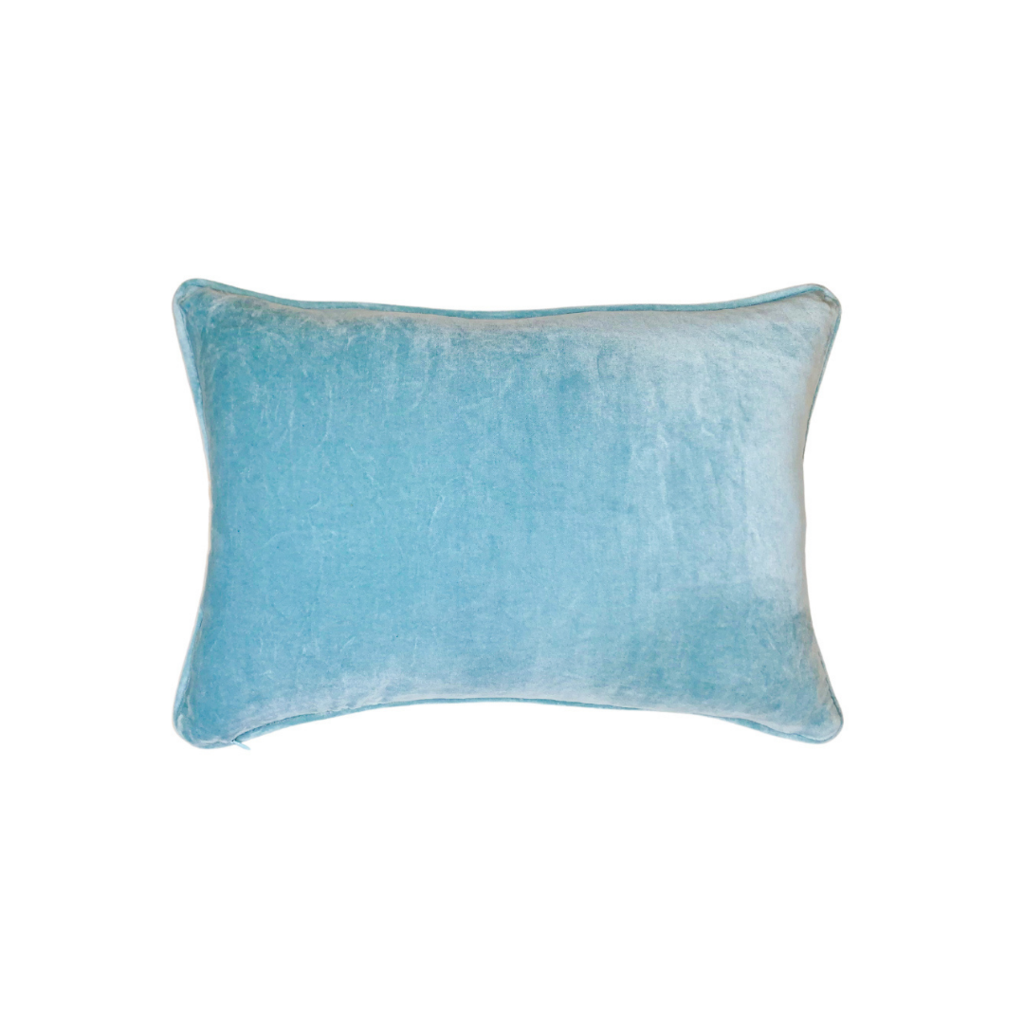 Sky Blu Velvet Pillow from Laura Park Designs, lumbar