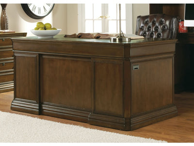 Cherry Creek 66-inch Executive Desk in medium brown lifestyle image Hooker Furniture
