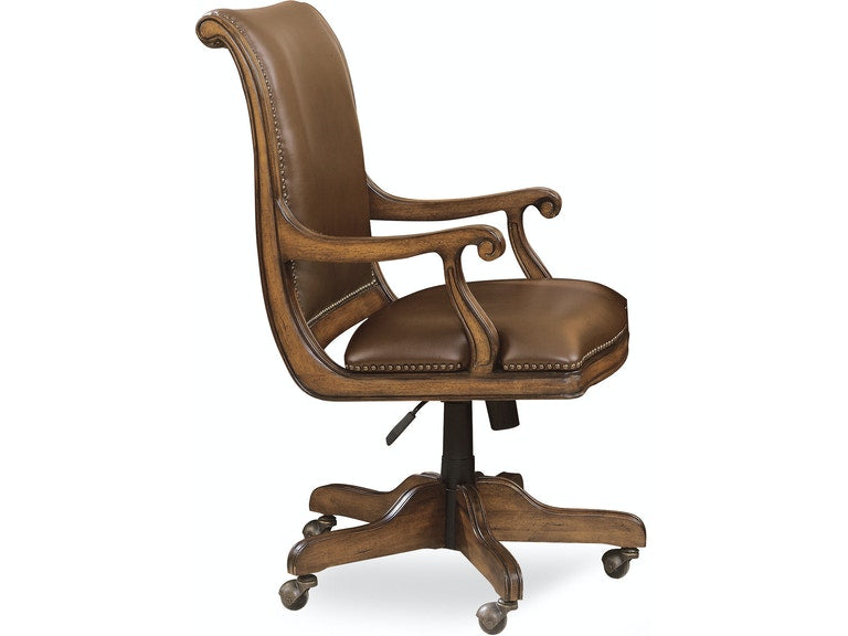Brookhaven Desk Chair traditional style in cherry and leather from Hooker Furniture