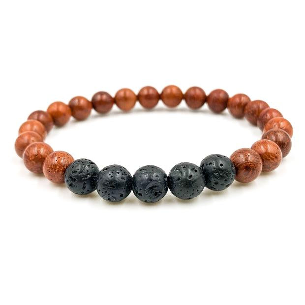 Lava Rock and Rosewood beaded bracelet handmade in USA by Everwood