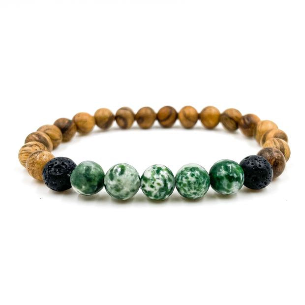 Green Tree Agate and Light Sandalwood beaded bracelet from Everwood