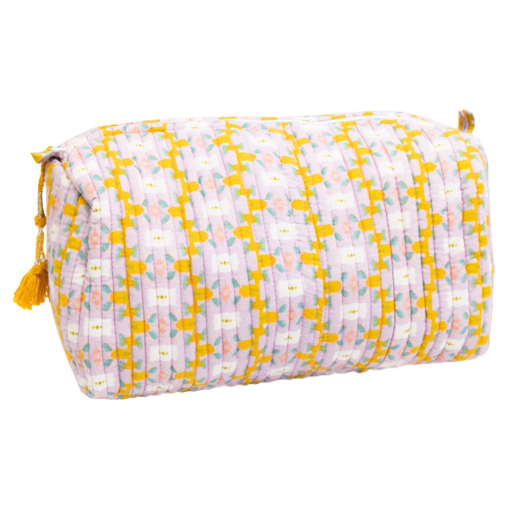 Chloe Lavender Quilted Cosmetic Bag from Laura Park Designs in yellows and lavender, large size