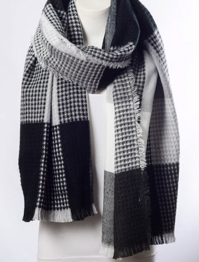 Women's scarf black and gray plaid knit Harley Butler Trading Company detail image