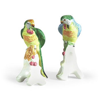 Parrot with Cherries Pair Ceramic Figurines