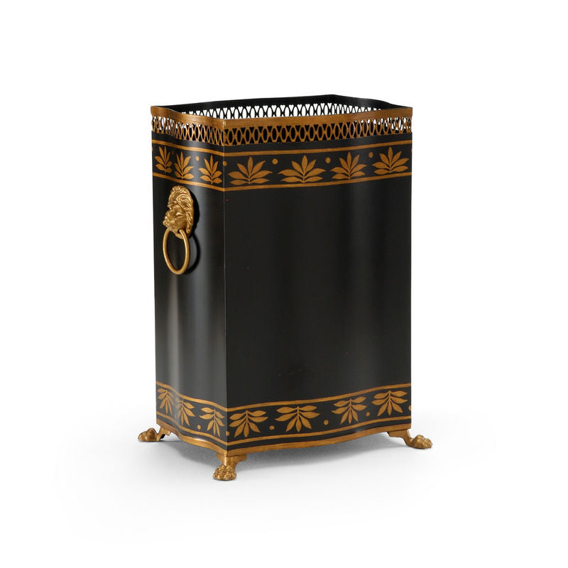 Carlton Wastebasket Handpainted