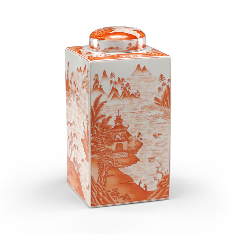 Canton Tea Caddy Porcelain with Pumpkin Color Finish