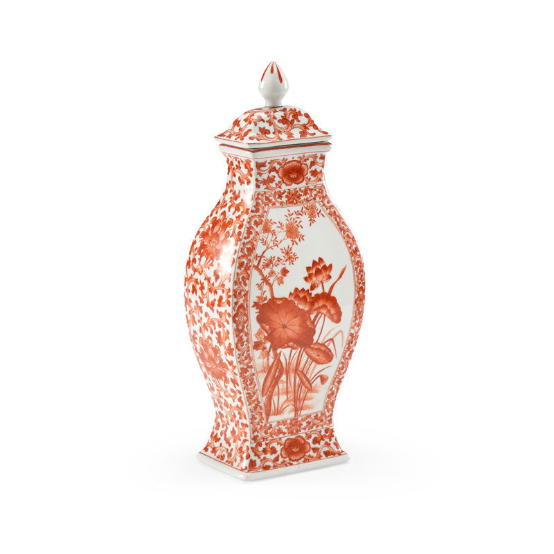 Covered Lotus Leaf Hand Decorated Porcelain Vase