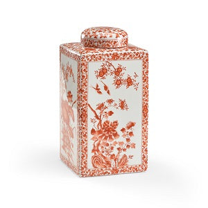 Lotus Square Jar in red hand decorated glaze from Chelsea House