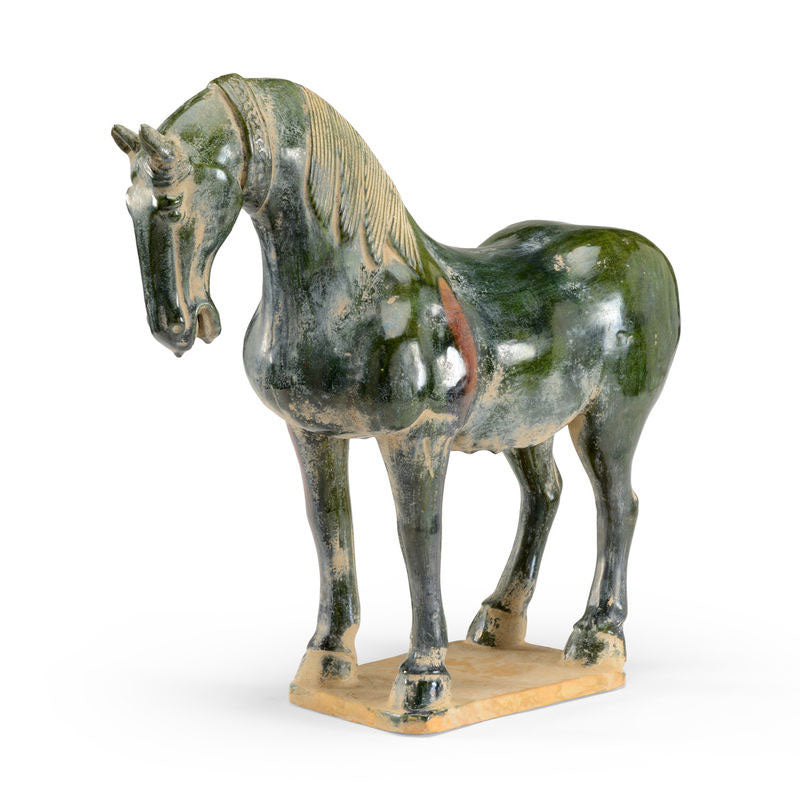 Chinese Horse Green Glaze Ceramic Figurine