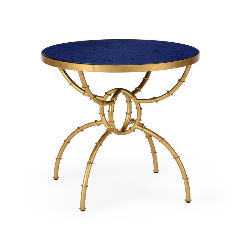 Bamboo Side Table Iron with Blue Lapis Top