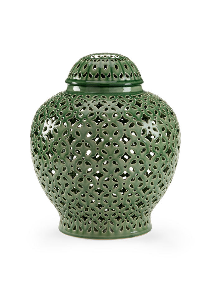 Pierced Covered Jar - Green