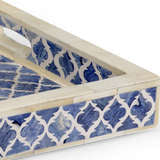 Newton Tray Blue White and Blue Bone Inlay Detail