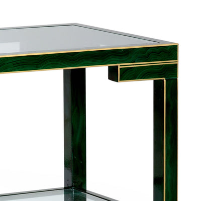 Decker Console Table Wood and Glass Malachite Finish Closeup