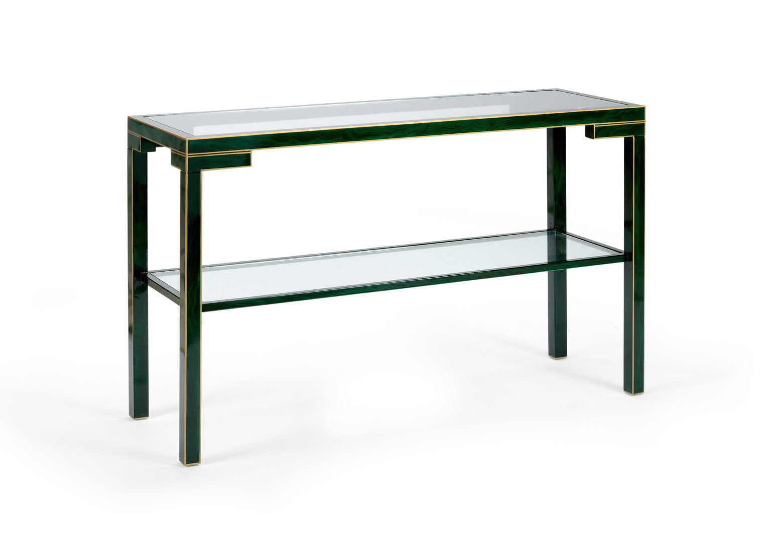 Decker Console Table Wood and Glass Malachite Finish