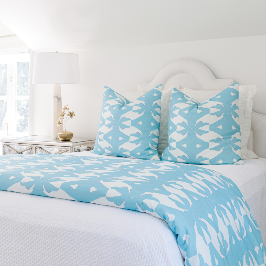 Palm Blue Duvet Cover in soft and vivid blue from Laura Park Designs