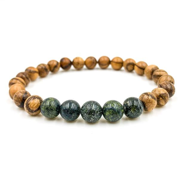 Serpentine and light sandalwood beaded bracelet from Everwood