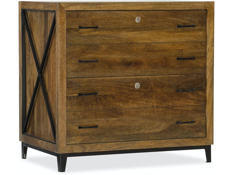Rustique Lateral File in mango wood and iron with X-motif from Hooker Furniture