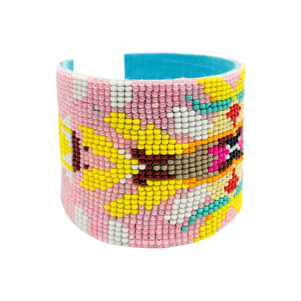 Flower Child Beaded Cuff Bracelet from Larura Park Designs in pink, yellow, blues and more