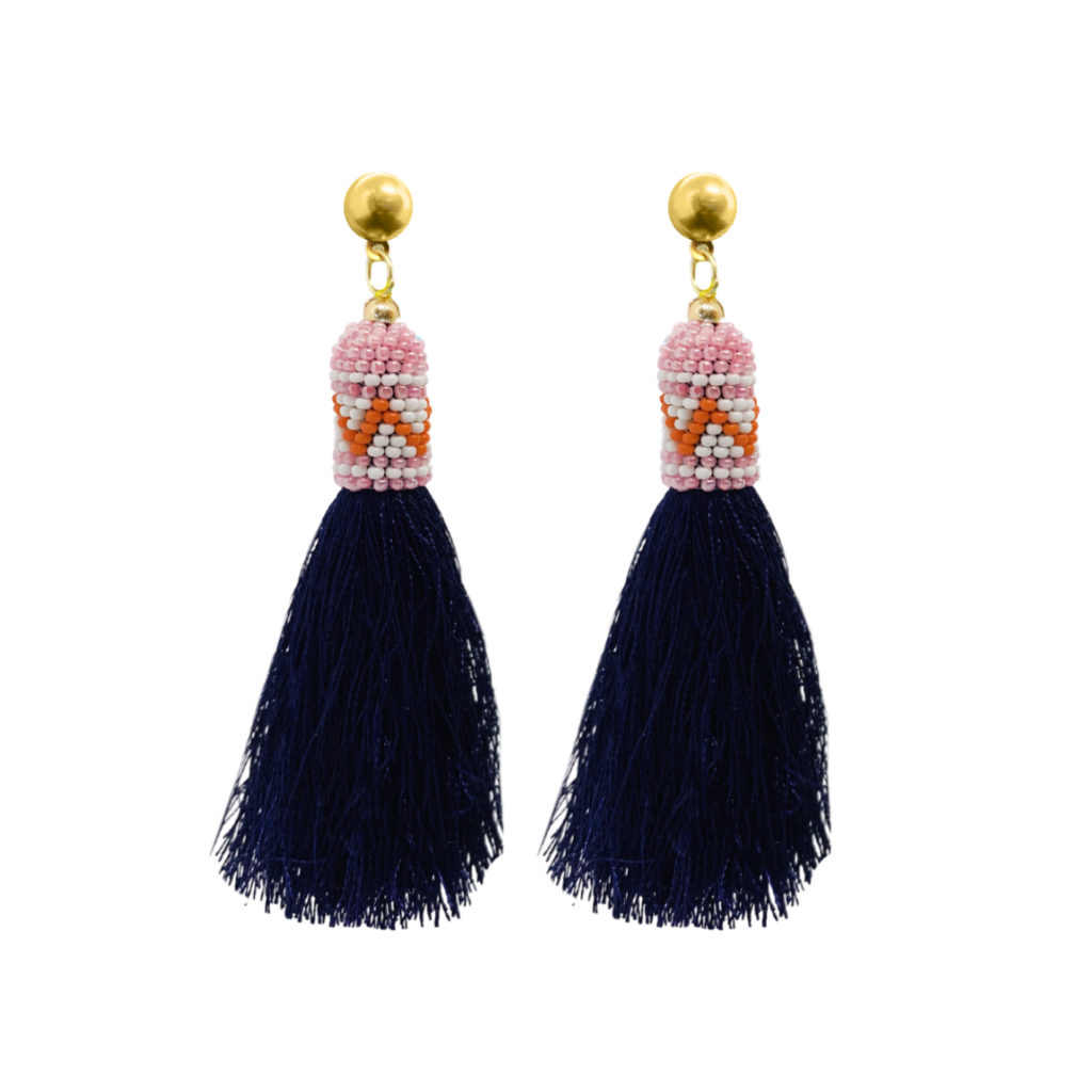 Butterflies Pink Tassel Earrings from Laura Park Designs