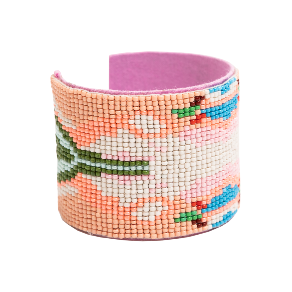 Under The Sea Orange Beaded Cuff Bracelet in pink, orange, blue, green and white