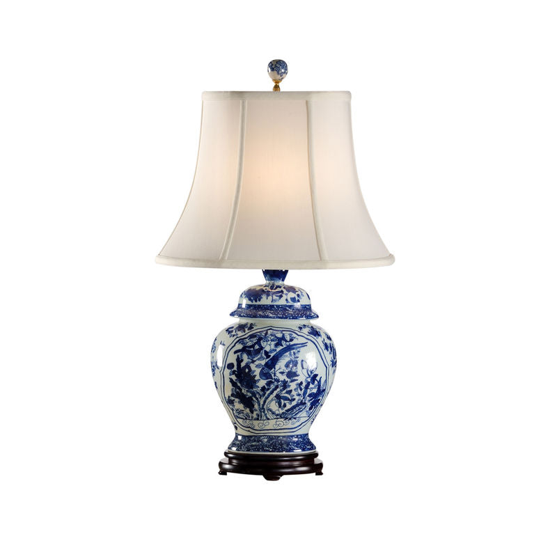 Fledgling lamp handpained blue and white oriental jar shape table lamp