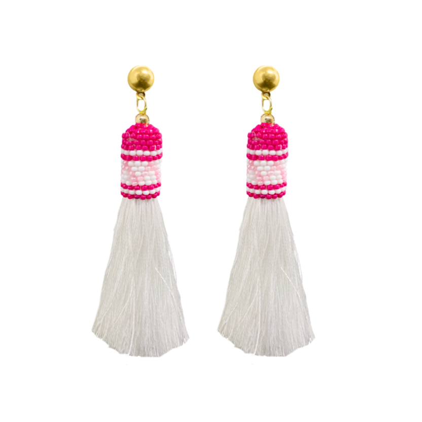 Palm Pink Tassel earrings from Laura Park Designs pink and white beads white tassel